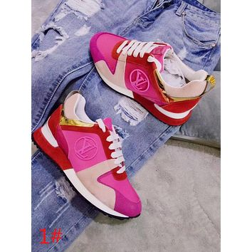 Louis Vuitton LV Popular Women Personality Color Matching Casual Lace-Up Sport Sneakers Shoes Red/Rose Red/Beige I-ALS-XZ
