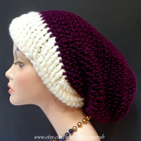 Ivory and Royal Purple Slouchy Crochet Hat. Tam
