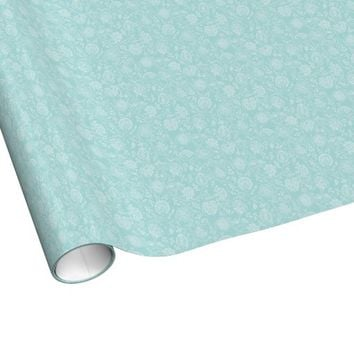 Tiffany Blue & White Floral Pattern Gift Wrapping Paper