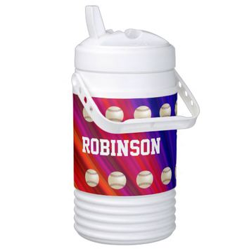 Personalized Beverage Cooler Baseball Rainbow
