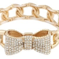 2 Pieces of Gold with Clear Iced Out 3D Bow Charm Linked Stretch Bracelet