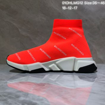 HCXX B012 Balenciaga Speed stretch-knit Mid sneakers Orange
