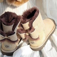 """UGG"" Fashion Winter Women Bowknot Flat Warm Snow Ankle Boots Sand Color G"