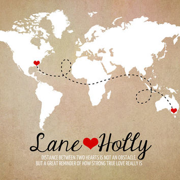 Long Distance World Map, Rustic Wedding Gift, 8x10 Art Print, Custom Engagement Gifts, Anniversary, Names, Hearts, Deployment, Quote
