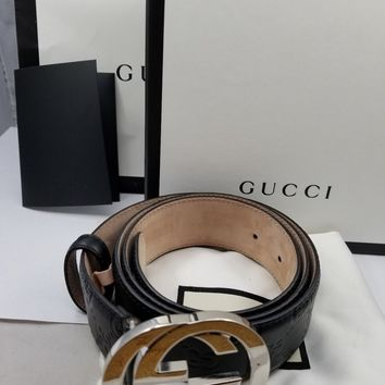 "Gucci Signature Leather Belt - Size: 38"" / 95cm (Style: 411924 CWC1N 1000)"