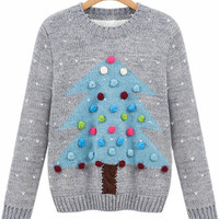 Christmas Tree Patterned Ball Patched Sweater