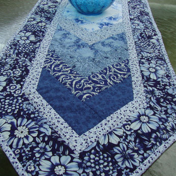 Quilted Braid Table Runner, Indigo Blues and White by MaryMackMadeMine
