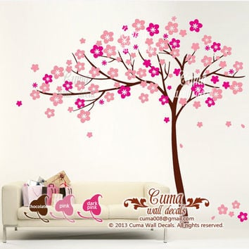 Vinyl wall decals pink tree wall decal fower Nature Tree Wall decals Nursery wall decal- floral tree cherry blossom Z117