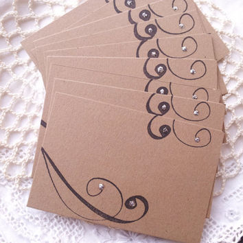 Wedding Event and Party Place Cards Food Buffet Label Tags Elegant Scroll Set of 10