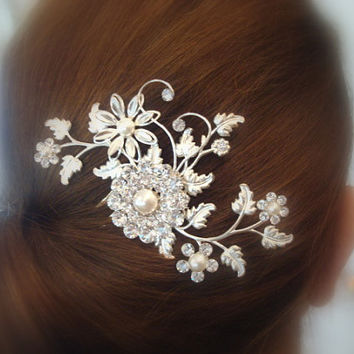 Bridal hair comb, wedding hair comb with Swarovski crystals and Swarovski pearls, antique silver, vintage style, wedding hair