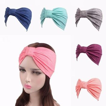 Fashion Candy Colors Sports Women Stretch Hairbands Wide Cotton Elastic Make up wash knotted headwrap Turban sweatband Yoga Headband