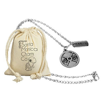 The Original Fearless Necklace By Santa Monica Charm Co. With 45lb Plate Pendant