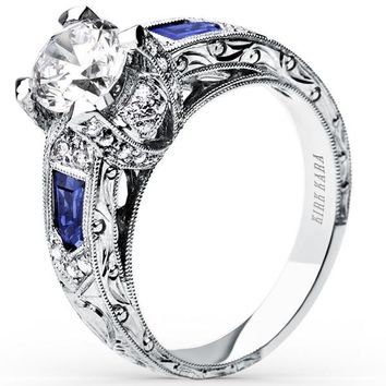 "Kirk Kara ""Charlotte"" Baguette Cut Blue Sapphire Diamond Engagement Ring"