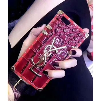 YSL tide brand couple models crocodile shell iphone7plus all-inclusive soft shell protective cover Red