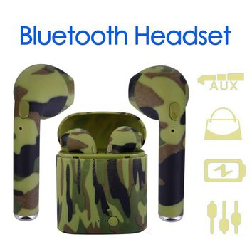Mini Bluetooth Headset Wireless Stereo Headset With Charge Box Earphone For iPhone X 7 Plus Android Camouflage Earbuds