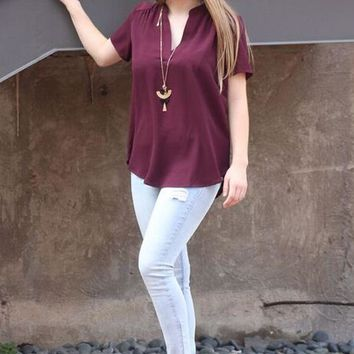 Expect Good Things Burgundy Top