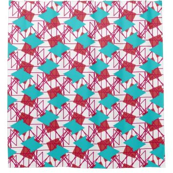 Shower Curtain in Red and Aqua Design