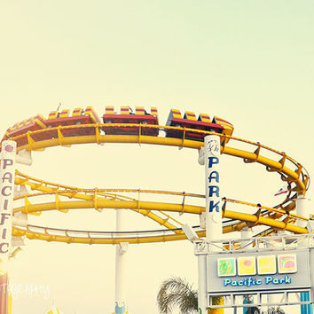 Santa Monica Pier Roller Coaster Beach Photography Print California Oceanside Summer Surf