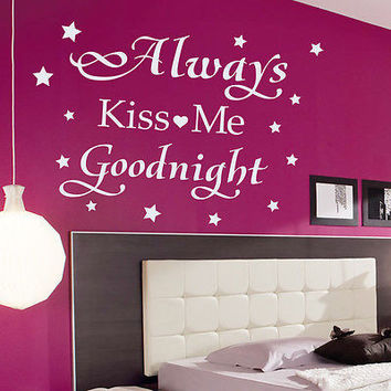 Quote Always Kiss Me Goodnight Wall Decals Star Decal Bedroom Vinyl Decor MR601