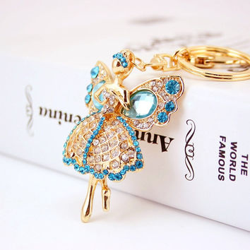 Dalaful Lucky Angel Wings Elves Crystal Rhinestone Keyrings Key Chains Holder Women Gift Fashion Novelty Keychains K244