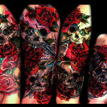 Temporary Tattoo Sleeve, Tattoo Sleeve, Skull Roses, Body Art, Arm Sleeve, Tattoos for Women,Designs Ideas Ink Fake Floral Flower Tatoo Punk