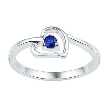 Sterling Silver Womens Round Lab-Created Blue Sapphire Solitaire Heart Ring 1/4 Cttw