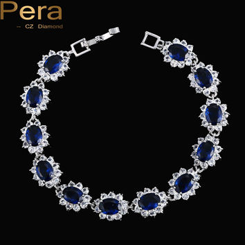 Vintage Created Sapphire Jewelry Sterling 925 Silver Oval Blue Cubic Zircon Link & Chain Bracelet For Women Christmas Gift B014