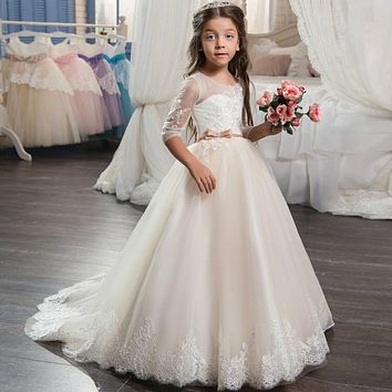 Beautiful Champagne Lace Flower Girl Dress 2017 with Sleeves Lace Train Kids Corset Ball Gown Prom Dress for Girls