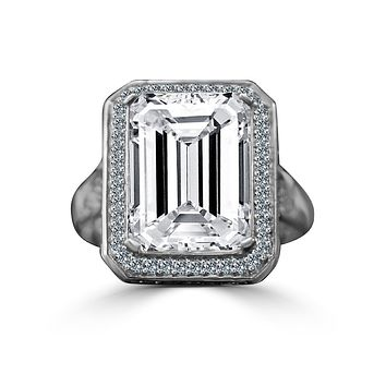 12 CT. Intensely Radiant Emerald Cut Diamond Veneer Cubic Zirconia Important Vintage Micro Pave Halo Sterling Silver Cocktail/Engagement/Wedding Ring. 635R75006