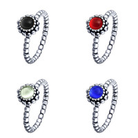 Unique Silver Birthstone Blooms Rings For Female Women Wedding Party Birthday Gift Fashion Ring Finger Original Jewelry Making