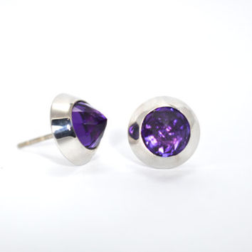 Amethyst silver studs, silver studs, spike studs, silver spick studs, purple studs, purple spicks