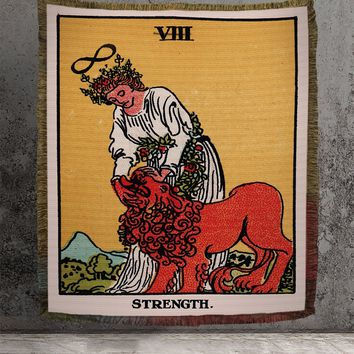 Large Woven Tapestry - Strength Tarot Card Tapestry - Rider Waite Deck - Cotton