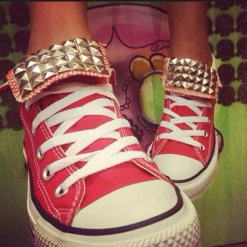 custom red studded converse all star high tops chuck taylor all sizes colors