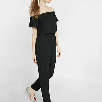 off the shoulder tie shoulder jumpsuit