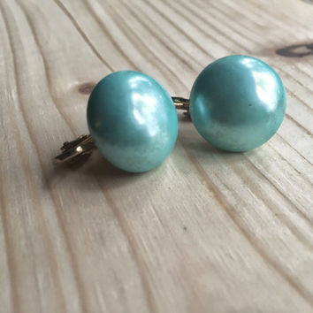 Vintage clip on turquoise earrings