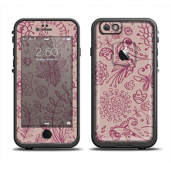 The Puprle and Light Pink Sketched Lace Patterns v21 Skin Set for the Apple iPhone 6 LifeProof Fre Case