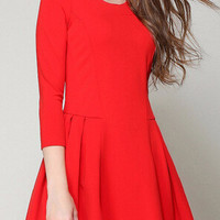 A-Line Long-Sleeve Pleated Skater Dress