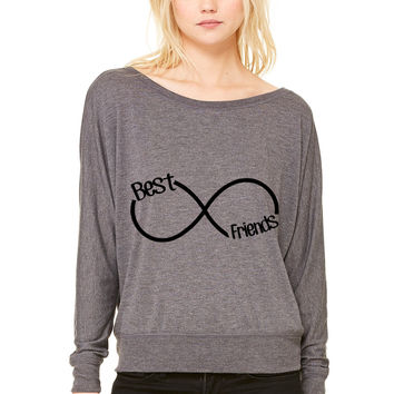 Best Friends Infinity WOMEN'S FLOWY LONG SLEEVE OFF SHOULDER TEE