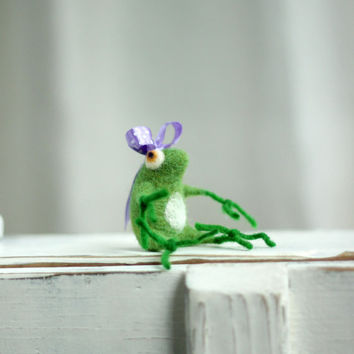 A Little Felt  Green Baby Frog With A Purple Ribbon - Needle Felting Frog - Art Doll