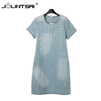 Summer Dress 2017 Newest Summer Women Dress Loose Short-Sleeve Beaded Denim Dresses Vestidos Party Dress Plus Size S-5XL