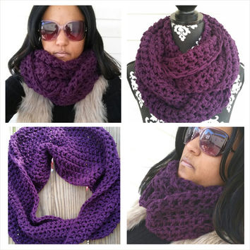 Cowl Scarf, Purple, Fall Fashion, Infinity Scarf, Bohemian, Hippie Scarf, Boho, Chunky Shawl, Bohemian Cowl, Urban, Vegan Friendly