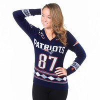 New England Patriots Gronkowski R. #87 NFL Womens Glitter V-Neck Sweater