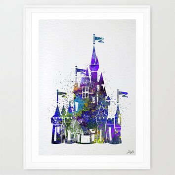 Cinderella Disney Princess Castle Watercolor illustration Art Print,Wall Art Poster,Home Decor Art,Wall Hanging,Kids Art,Birthday Gift, #210