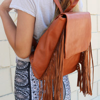 BROWN BOHO BACKPACK