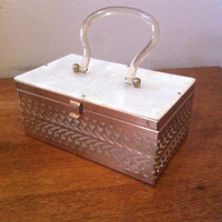 Vintage, 50's Box Purse Lucite and Metal Very Nice