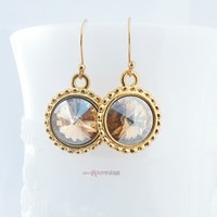 Golden Swarovski Rivoli Earrings