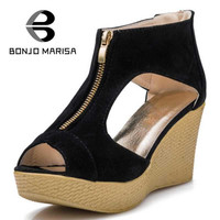Zapatos Mujer 2016 New Style Sandals Women Shoes Woman Summer Platform Wedges Vintage High Heels Open Toe With Zipper Sandalias