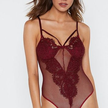Harness Strap Lace & Mesh Bodysuit