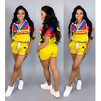 Champion Newest Popular Woman Personality Print Short Sleeve Hoodie Top Shorts Set Two Piece Yellow