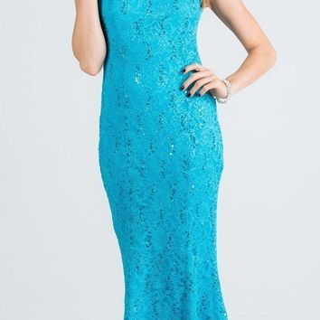 Turquoise Cap Sleeves Fit and Flare Long Formal Dress Lace Cut Out Back